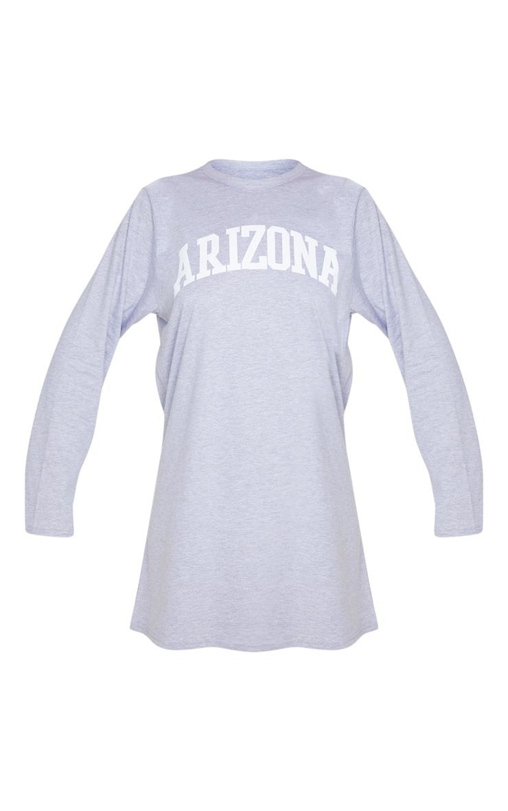 Grey Arizona Slogan Long Sleeve T Shirt Dress 3
