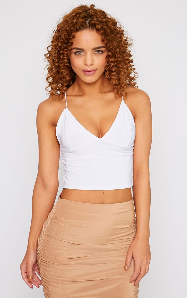 Azariah White Slinky Plunge Crop Top  1