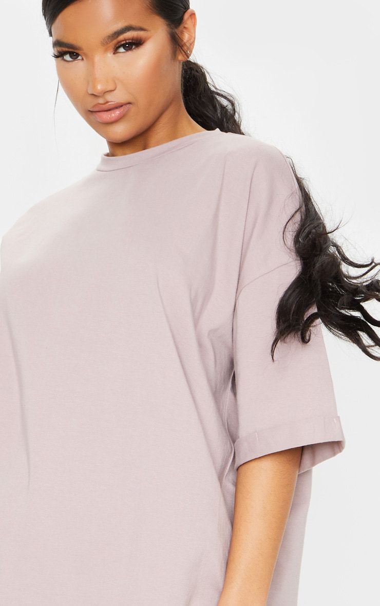 Mauve Oversized Boyfriend T Shirt Dress 4
