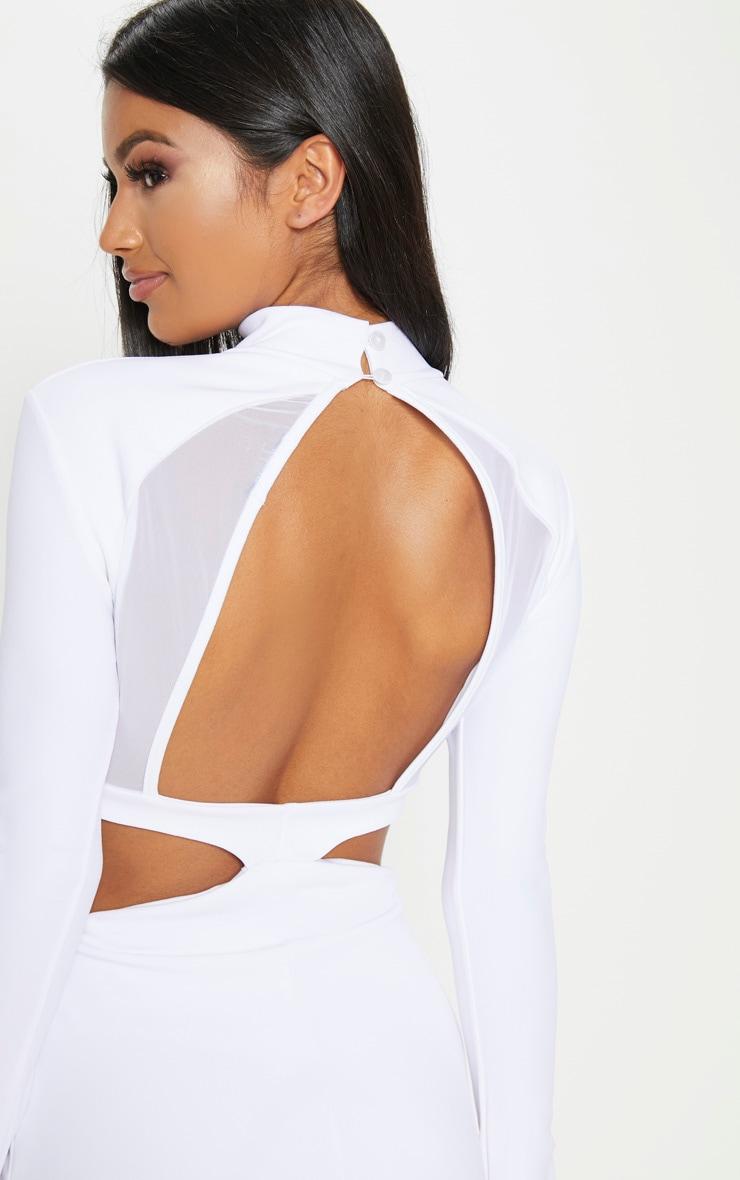 White Mesh Cut Out Back Detail Maxi Dress 5