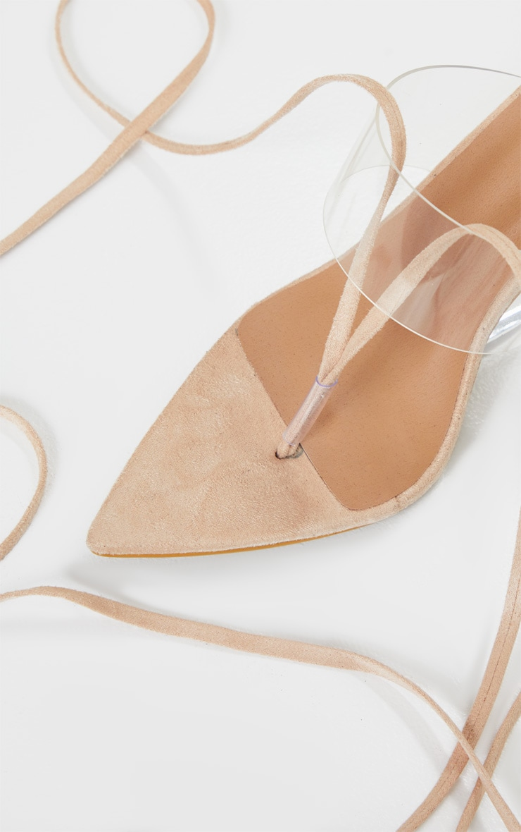 Nude Clear Wedge Point Toe Thong Sandals 4