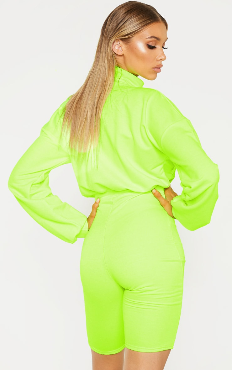 Tall Neon Lime Zip Front Pocket Unitard 2