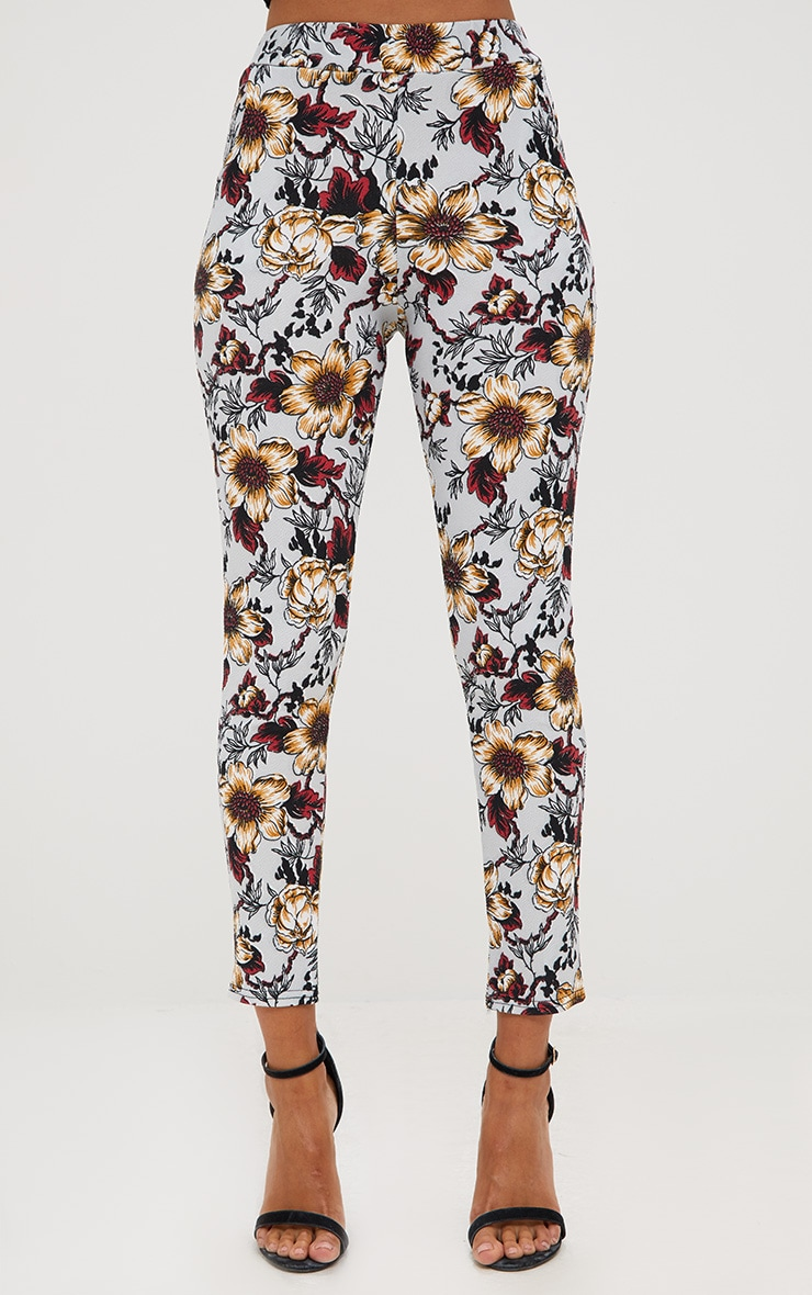Grey Floral Skinny Trousers 2