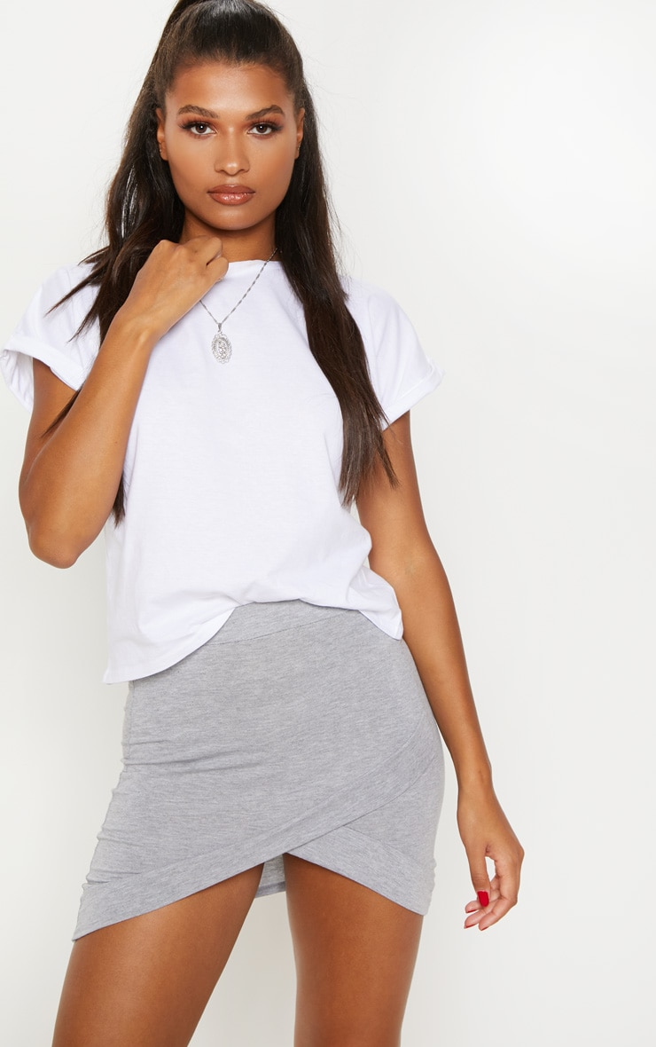 Basic Grey Asymmetric Mini Skirt