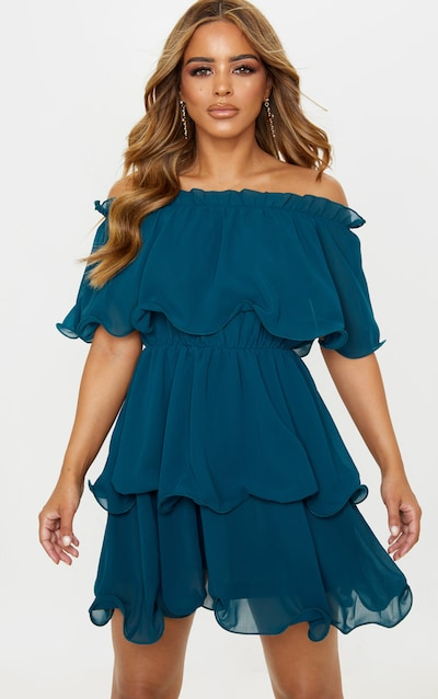 Petite Emerald Green Chiffon Bardot Ruffle Tiered Dress