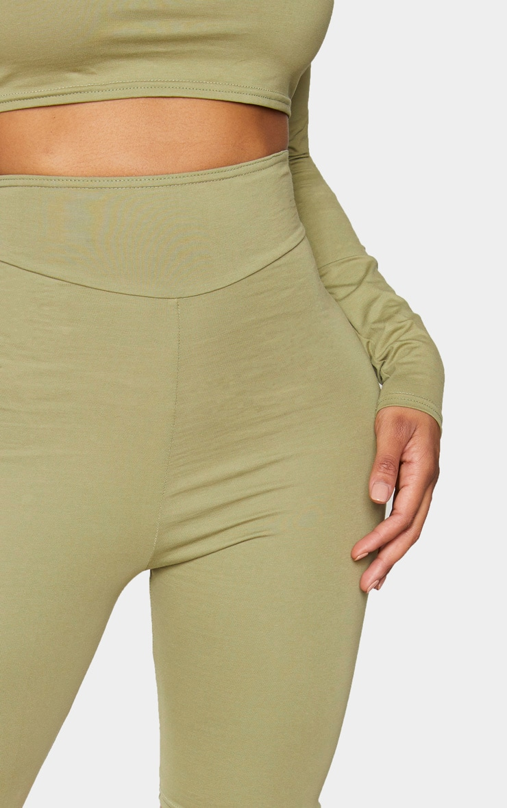 Shape Sage Green Cotton Panel Detail Cycling Shorts 5