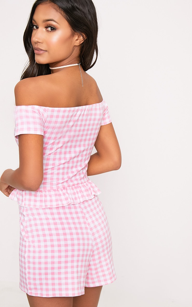 Pink Gingham Frill Middle Playsuit  2