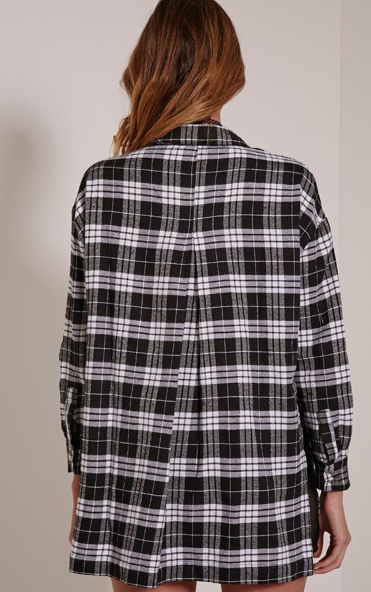 Alier Black Check Oversized Boyfriend Shirt 2