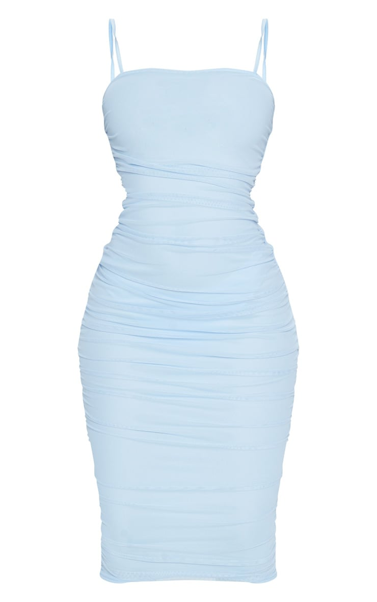 Baby Blue Strappy Mesh Midi Dress 5