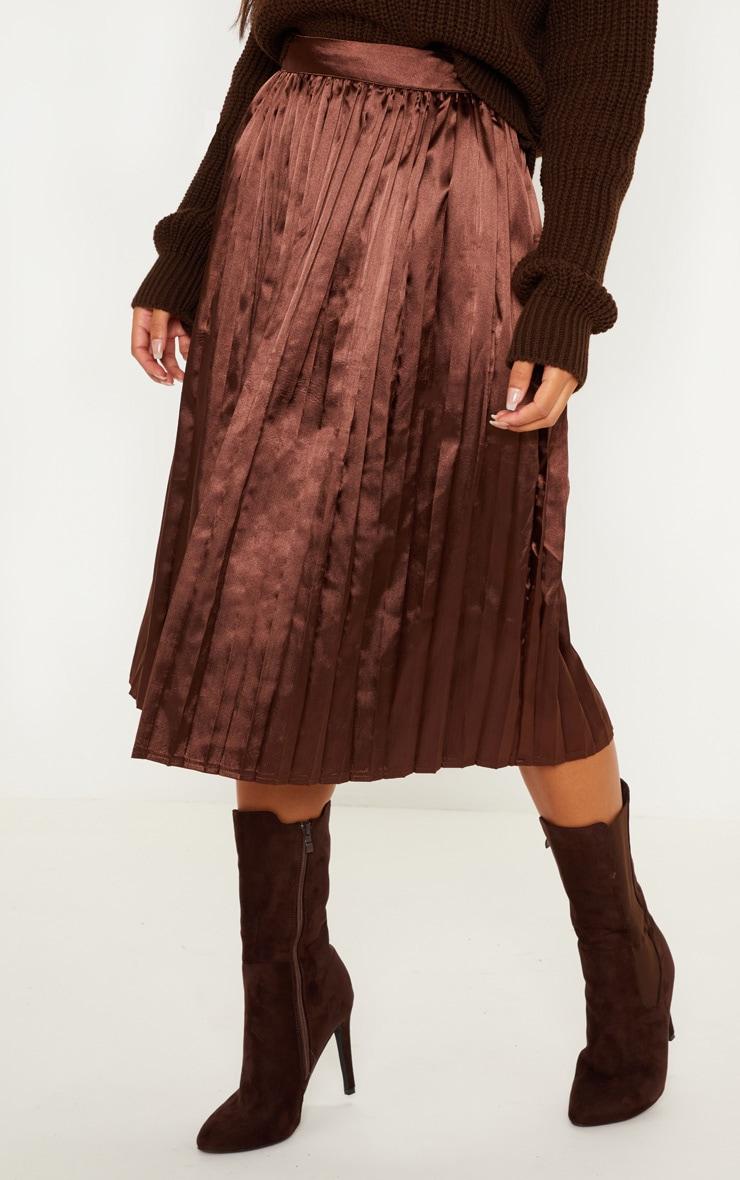Chocolate Satin Pleated Midi Skirt 2