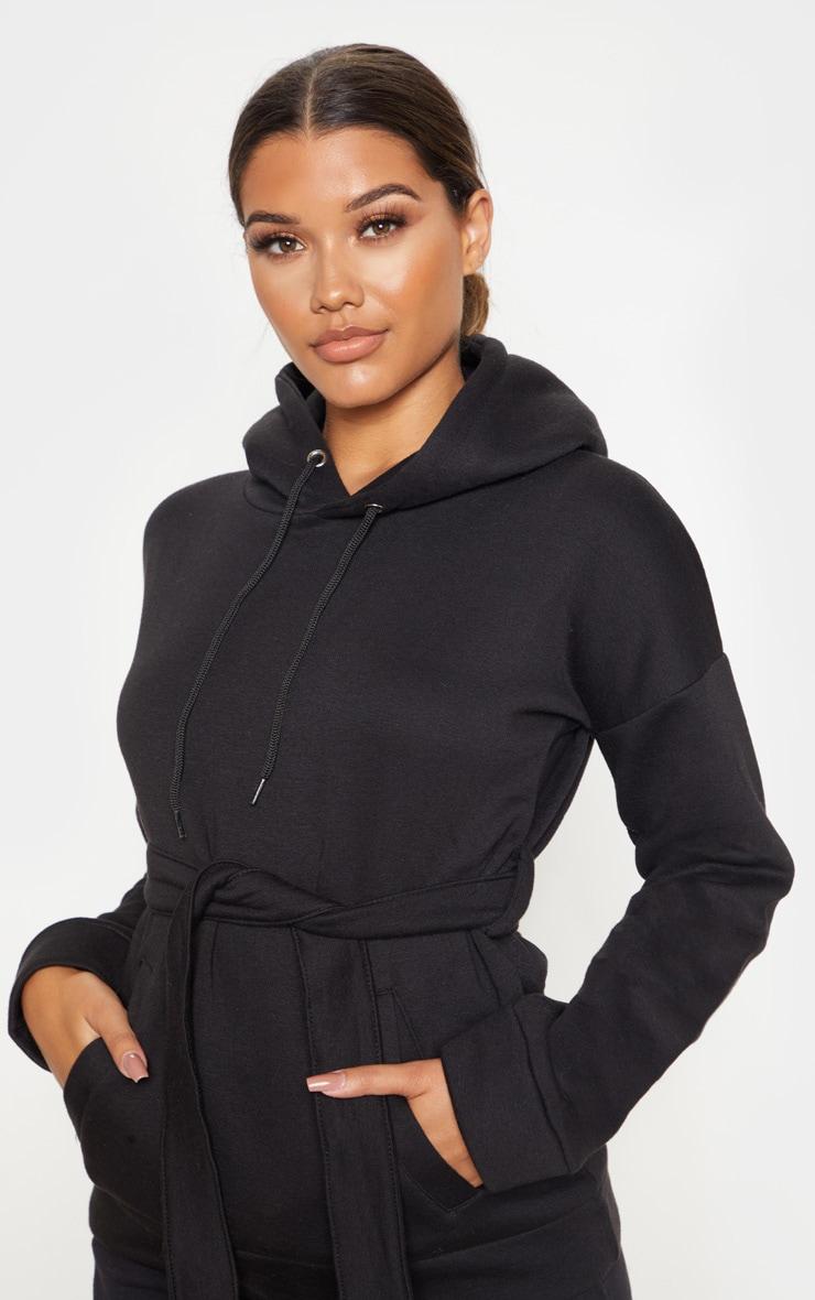 Black Oversized Belted Hoodie 5