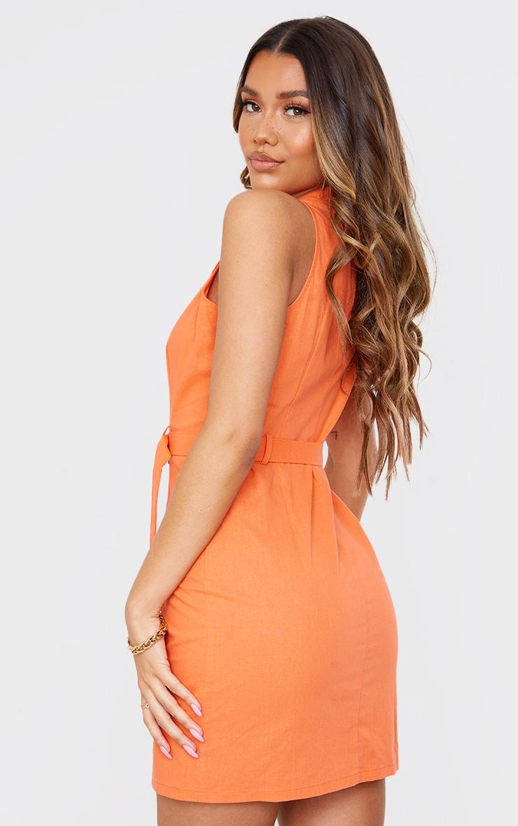 Tangerine Linen Look Button Down Belted Sleeveless Bodycon Dress 2