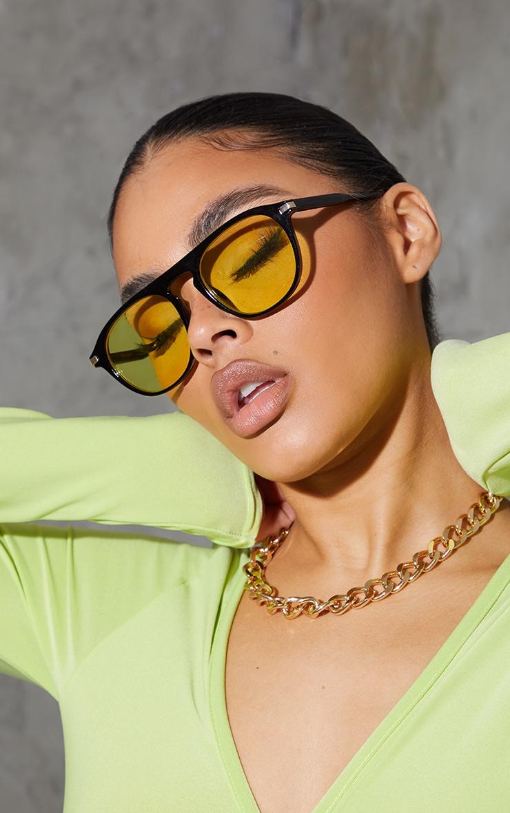 Yellow Lens Round Black Frame Sunglasses 1
