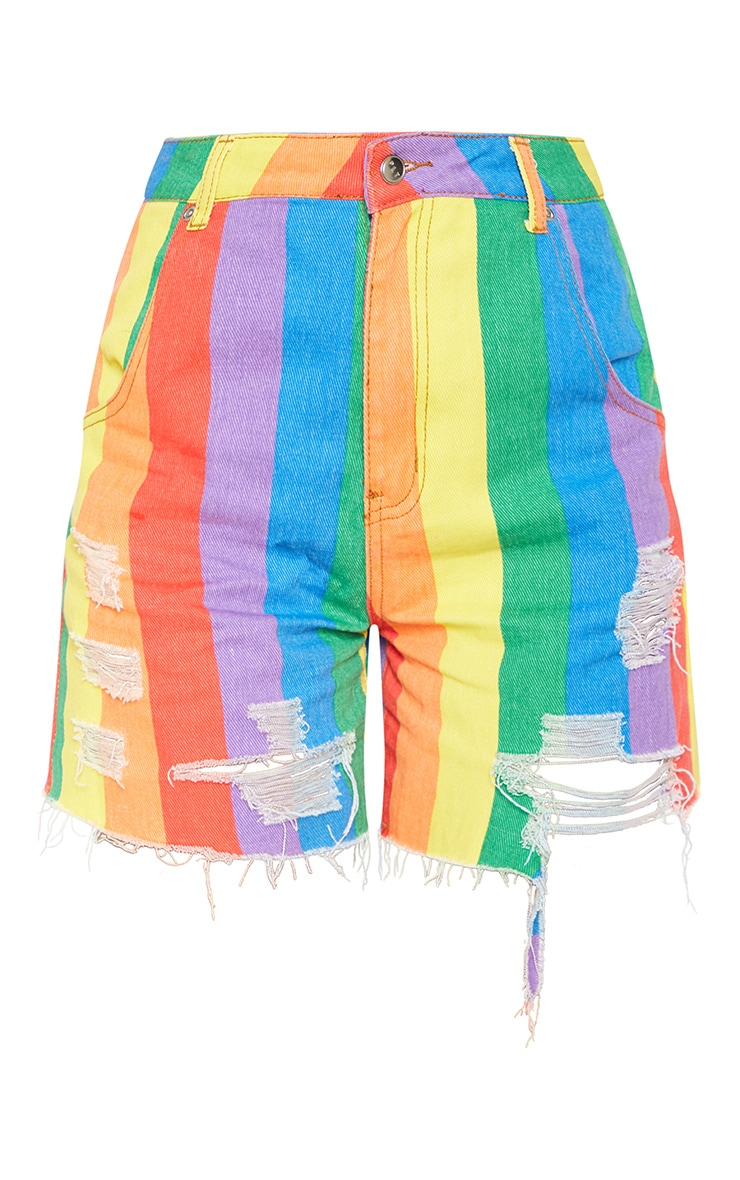 Multi Stripe Denim Short  4