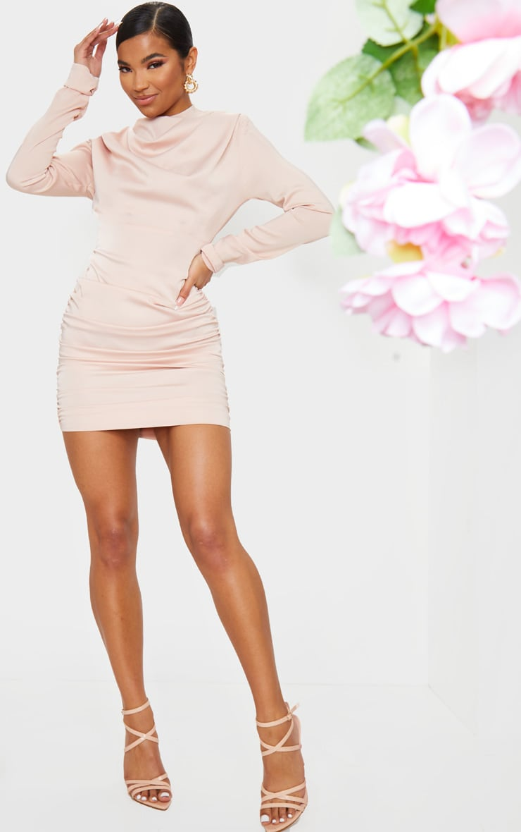 Nude Ruched Detail Long Sleeve Bodycon Dress 3