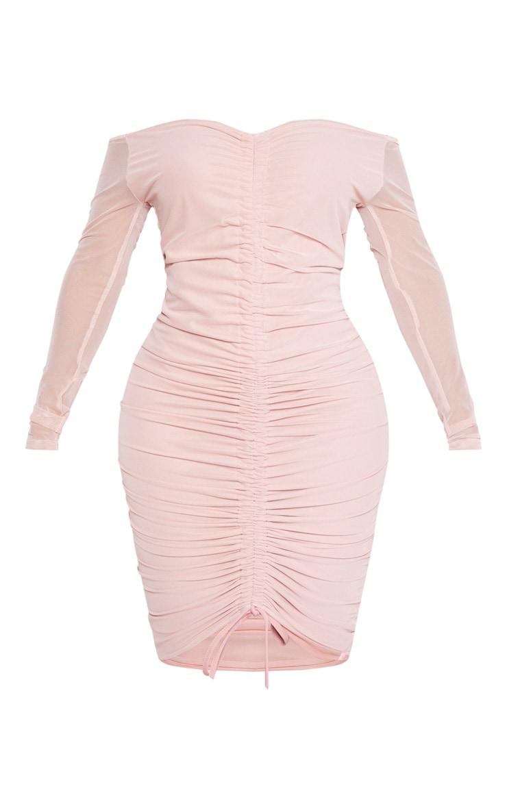 Shape Dusty Rose Mesh Ruched Bardot Midi Dress 3