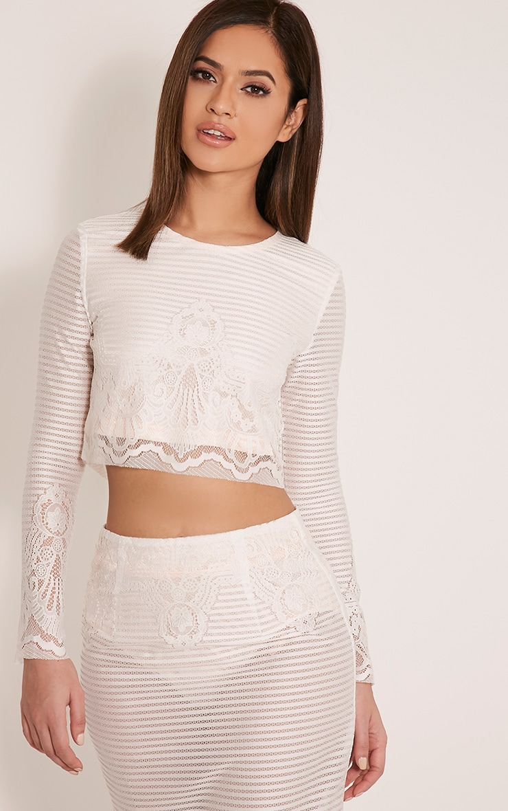 Robin White Striped Lace Crop Top 1