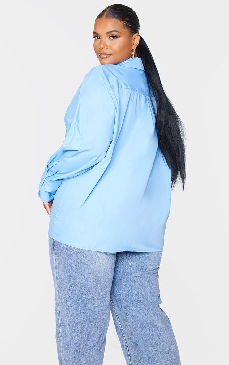 Plus Cornflower Blue Oversized Cuff Shirt 2
