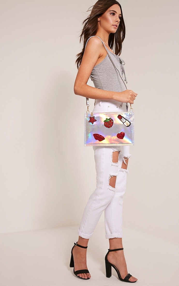 Carly Silver Holographic Patch Detail Clutch Bag 6