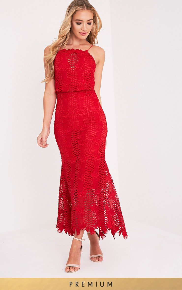 Reeya Red Lace Midaxi Dress 1