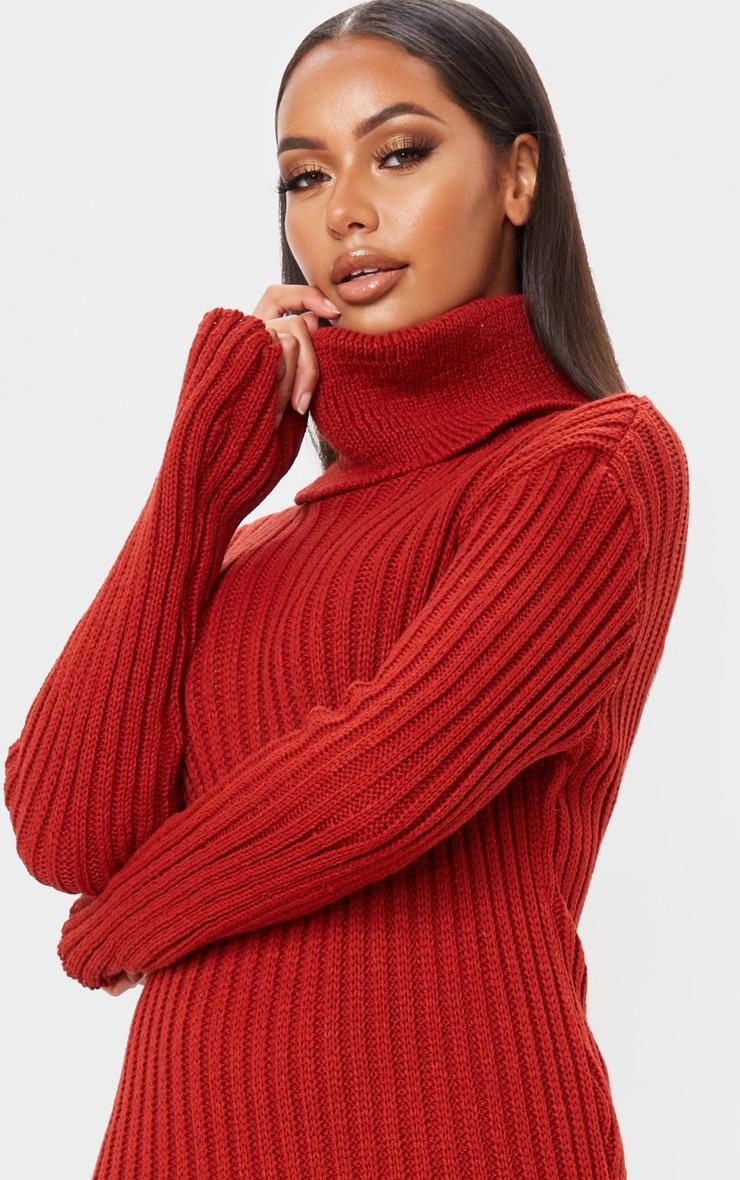 Rust Roll Neck Midi Sweater Dress 5