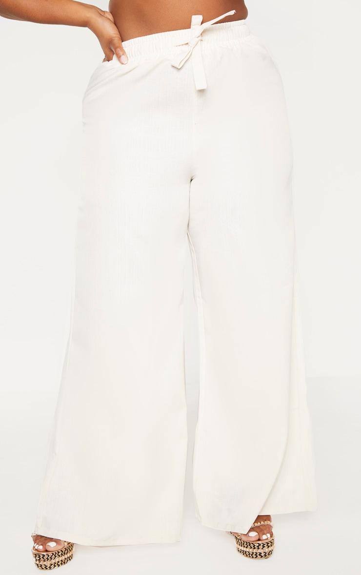 Plus Stone Woven Wide Leg Tie Waist Pants  2