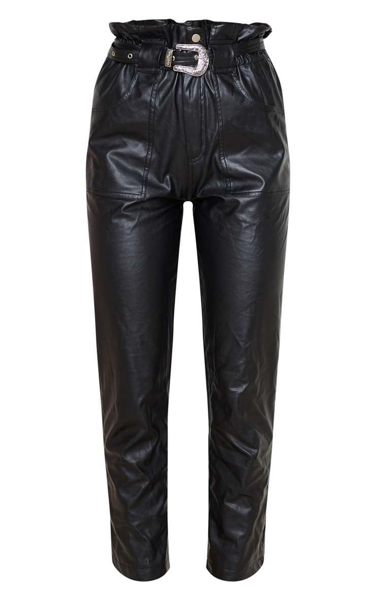 Black Western Belted Faux PU Trousers 4