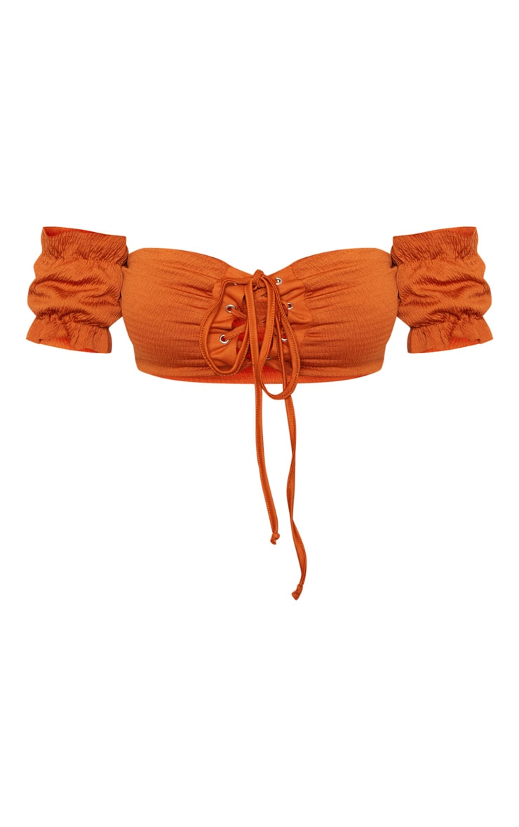 Rust Lace Up Bardot Crinkle Bikini Top 4