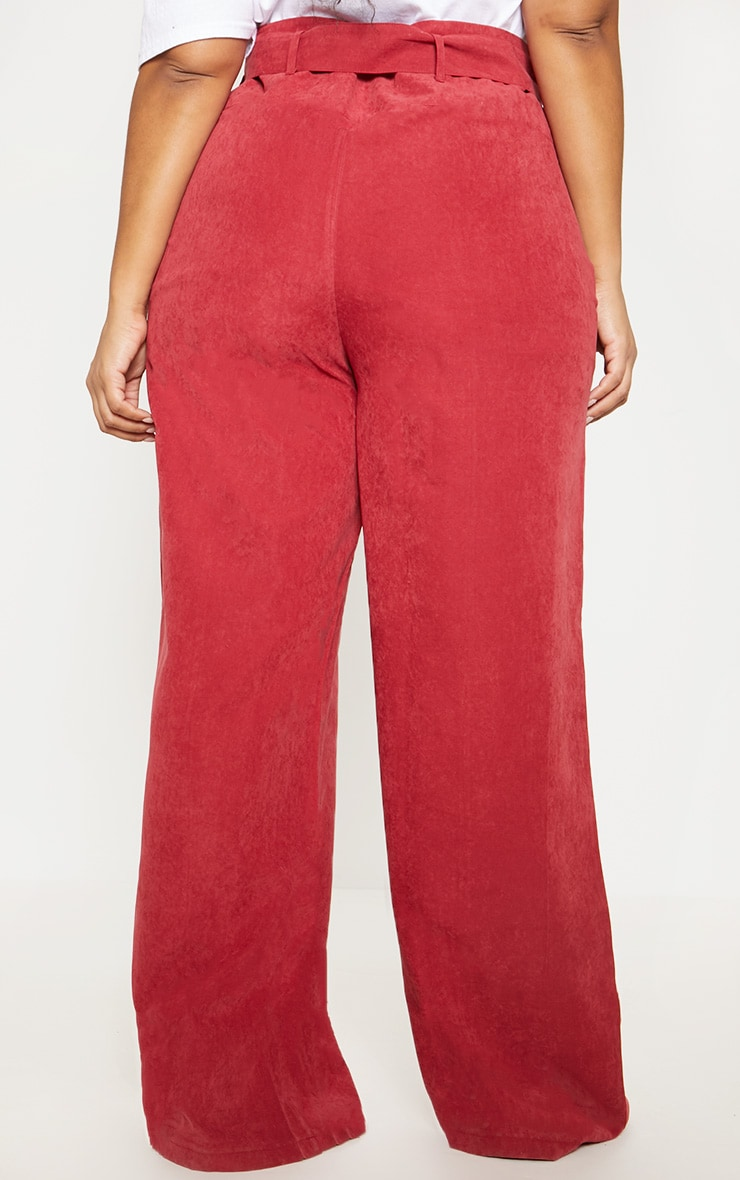 Plus Burgundy Faux Suede Belted Wide Leg Trouser 4