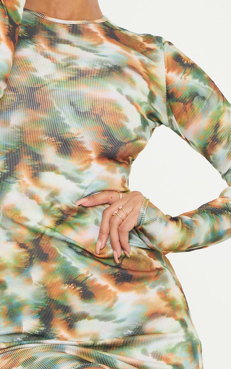 Khaki Tie Dye Print Ribbed Long Sleeve Bodycon Dress 4
