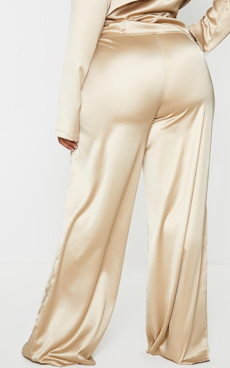 Plus Champagne Wide Leg Satin Trousers 3