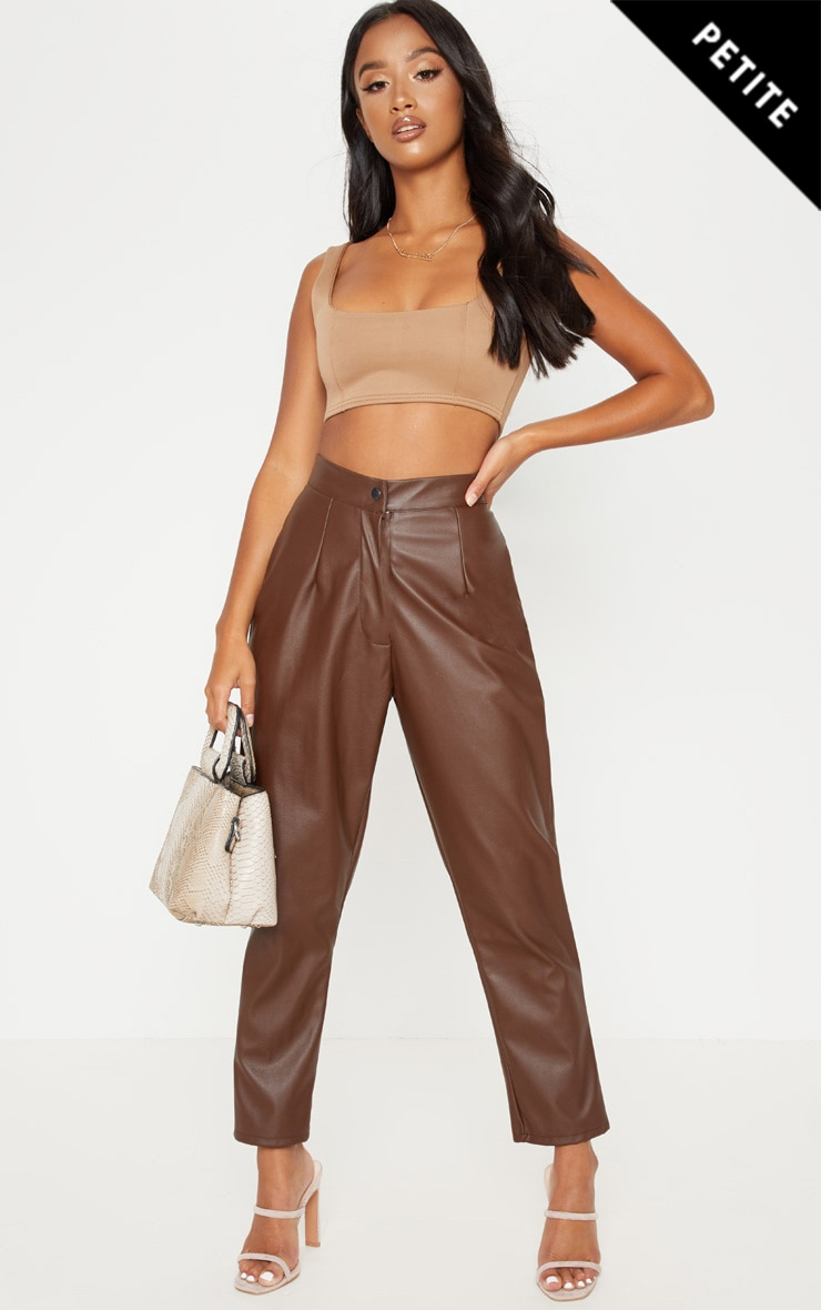 Petite Chocolate Faux Leather Slim Leg Trousers 1