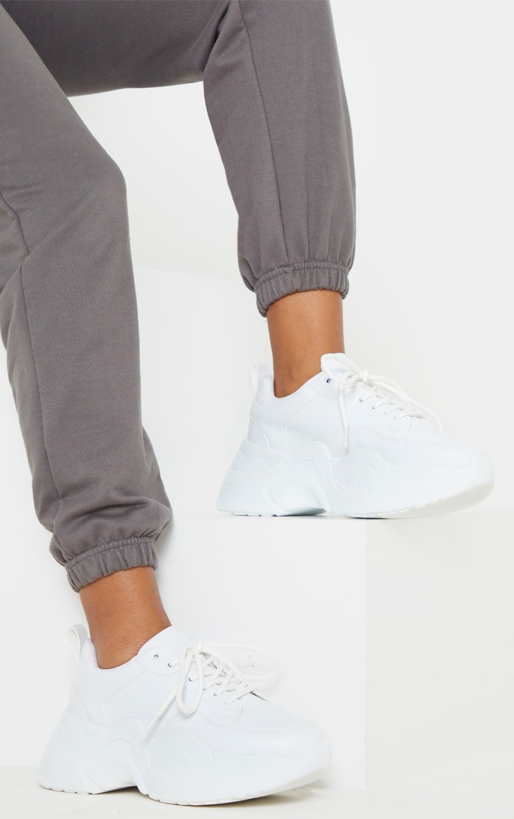 White Extreme Platform Sole Chunky Sneaker 1