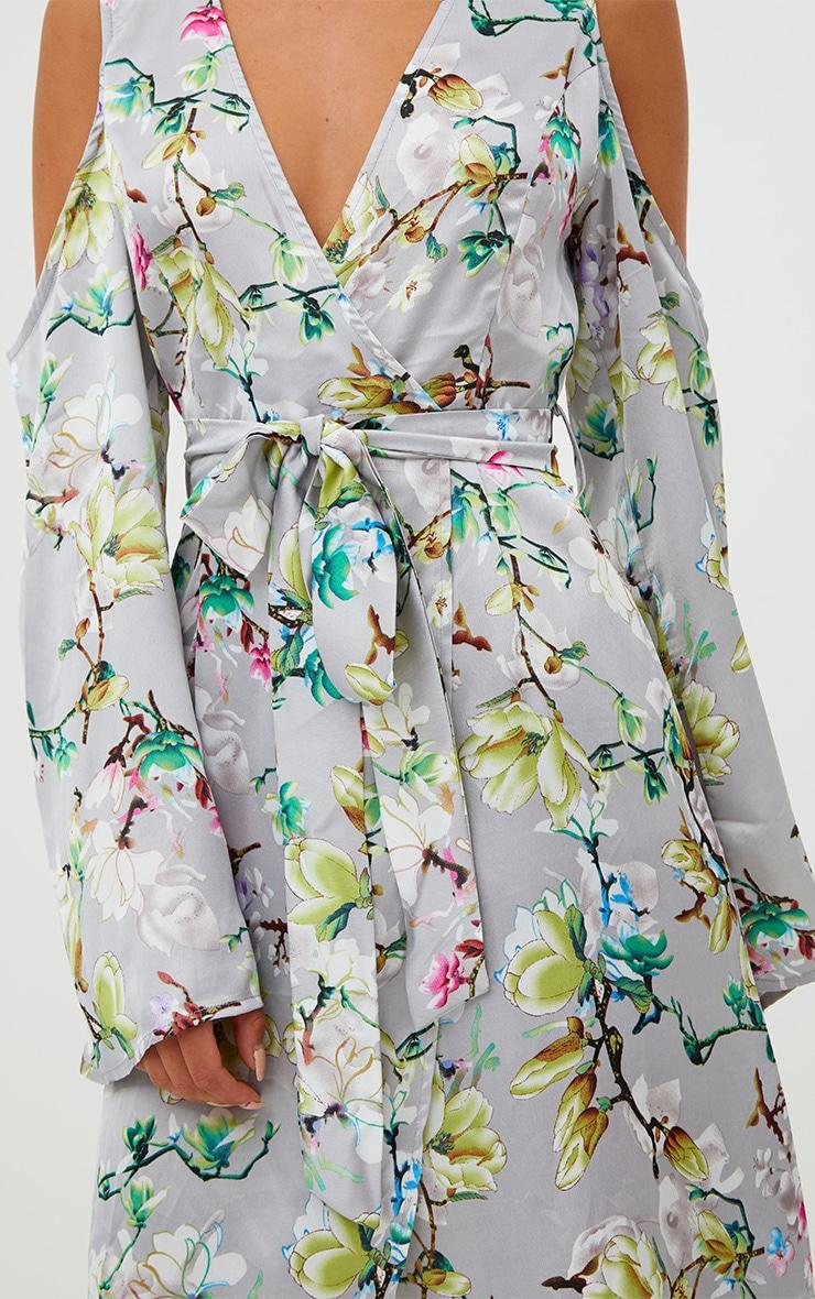 Grey Floral Satin Midi Dress 5