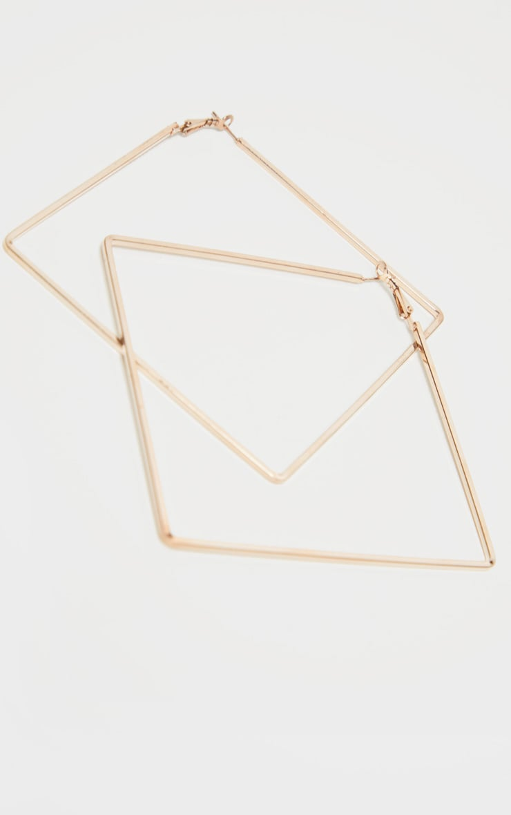 Gold Skinny Square Large Hoop Earrings 3
