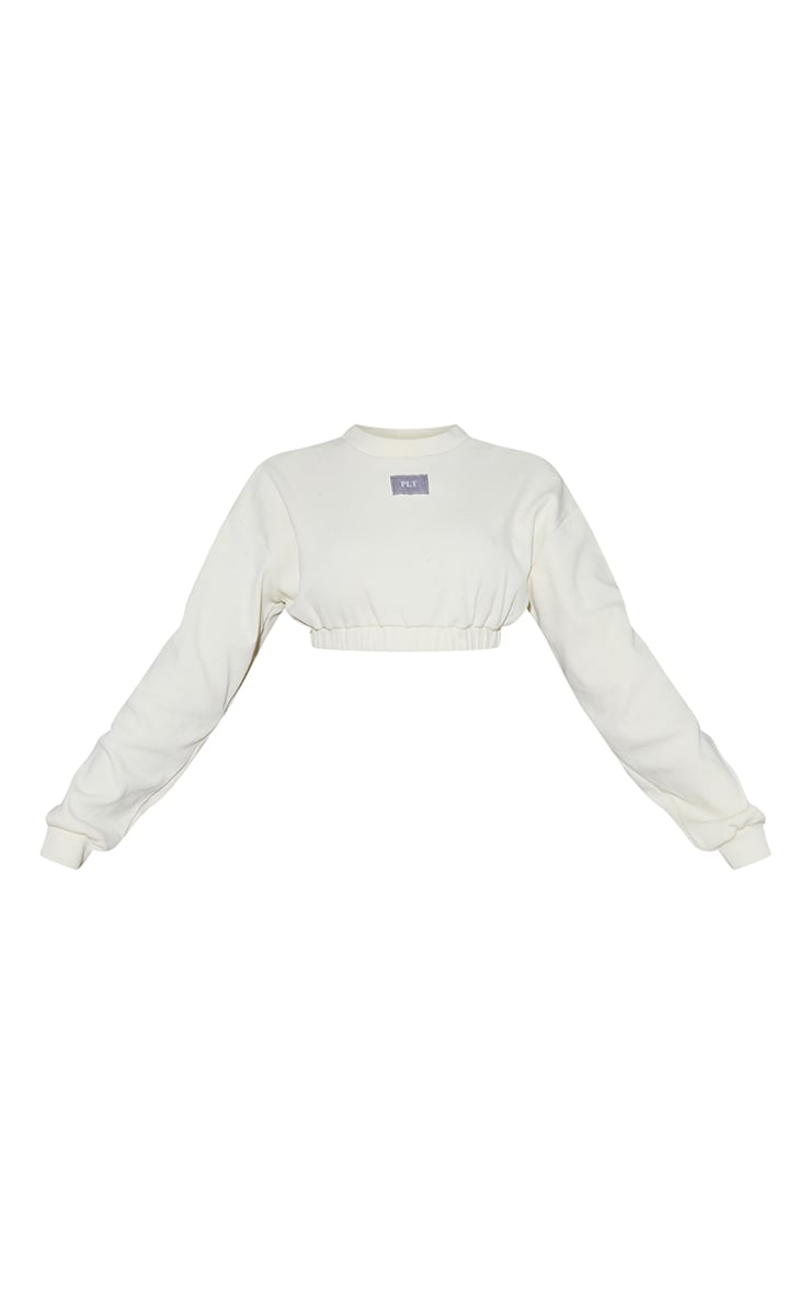 PRETTYLITTLETHING Cream Heavy Rib Badge Cropped Sweater 5