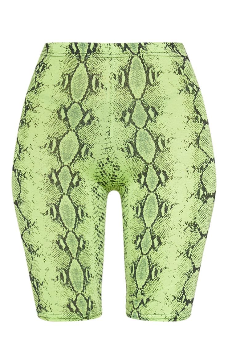 Short legging en jersey à imprimé serpent vert citron fluo 3