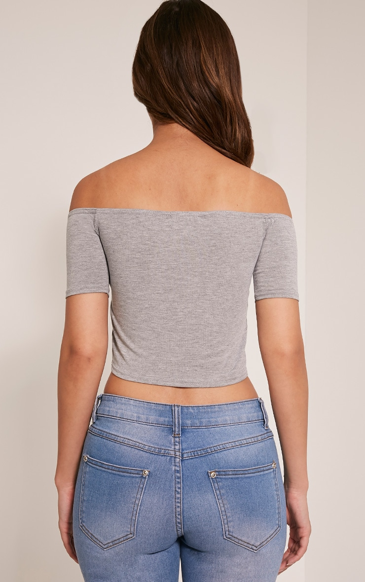 Basic Grey Bardot Crop Top 2