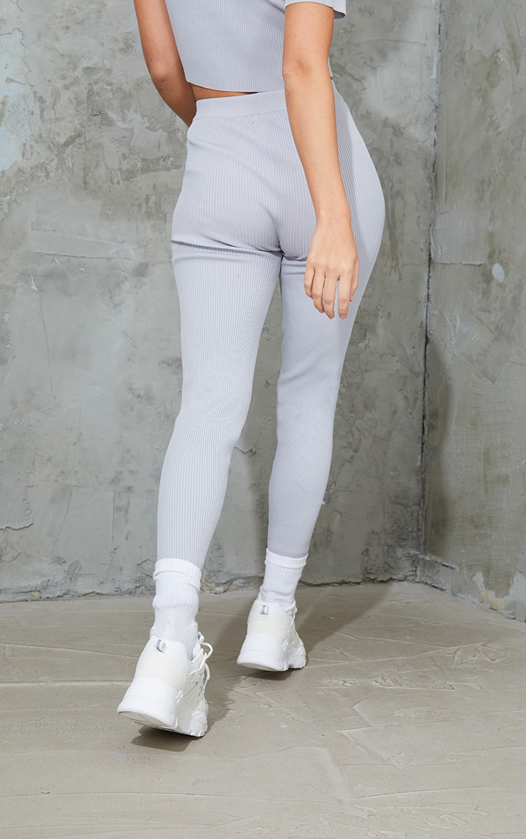 Grey Ribbed Knitted Tie Waist Joggers 3
