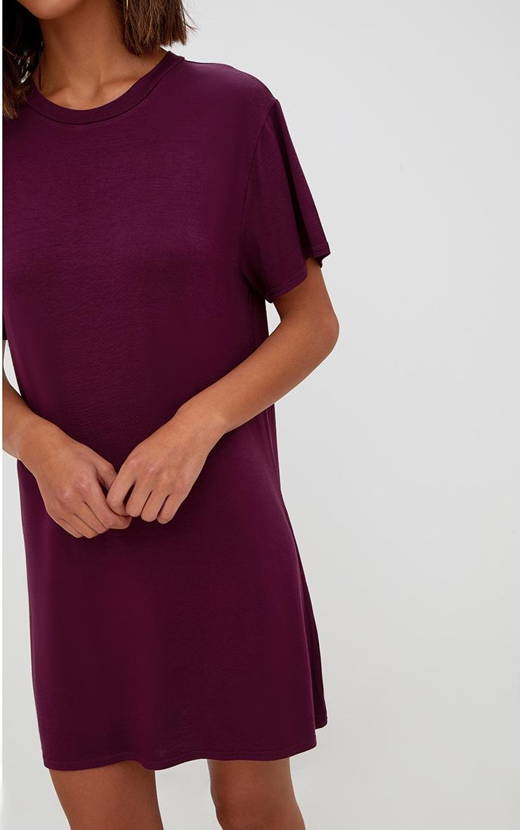 Basic Aubergine Short Sleeve T-Shirt Dress 5