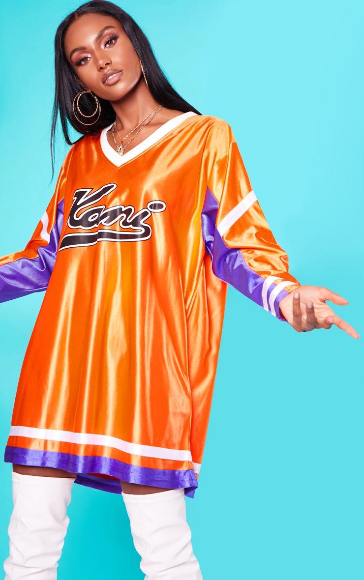 KARL KANI Orange Baseball Dress 2