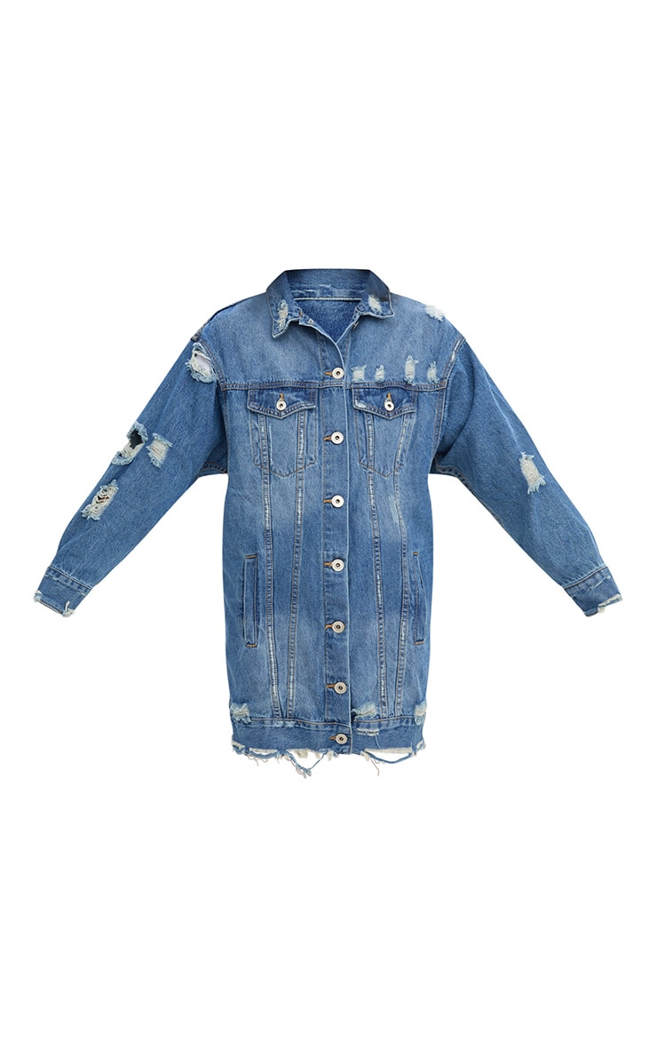 Mid Wash Longline Distressed Denim Jacket 3
