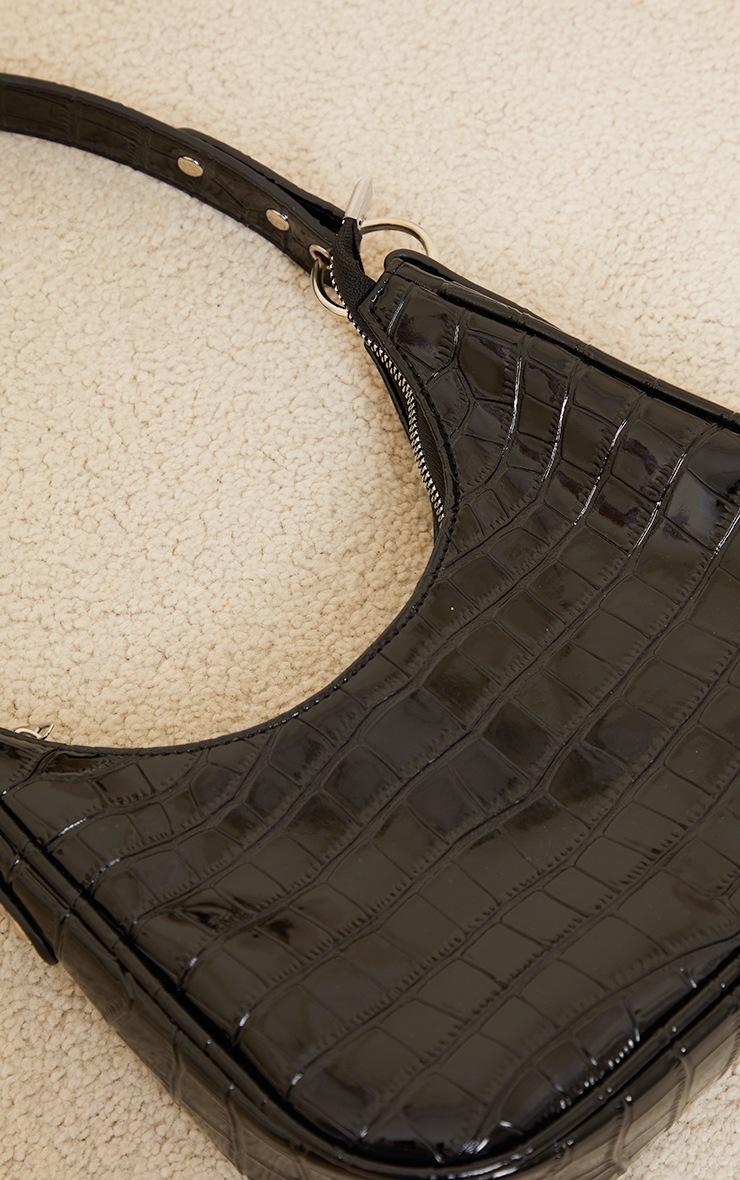 Black Oversized Croc Rounded Shoulder Bag 3