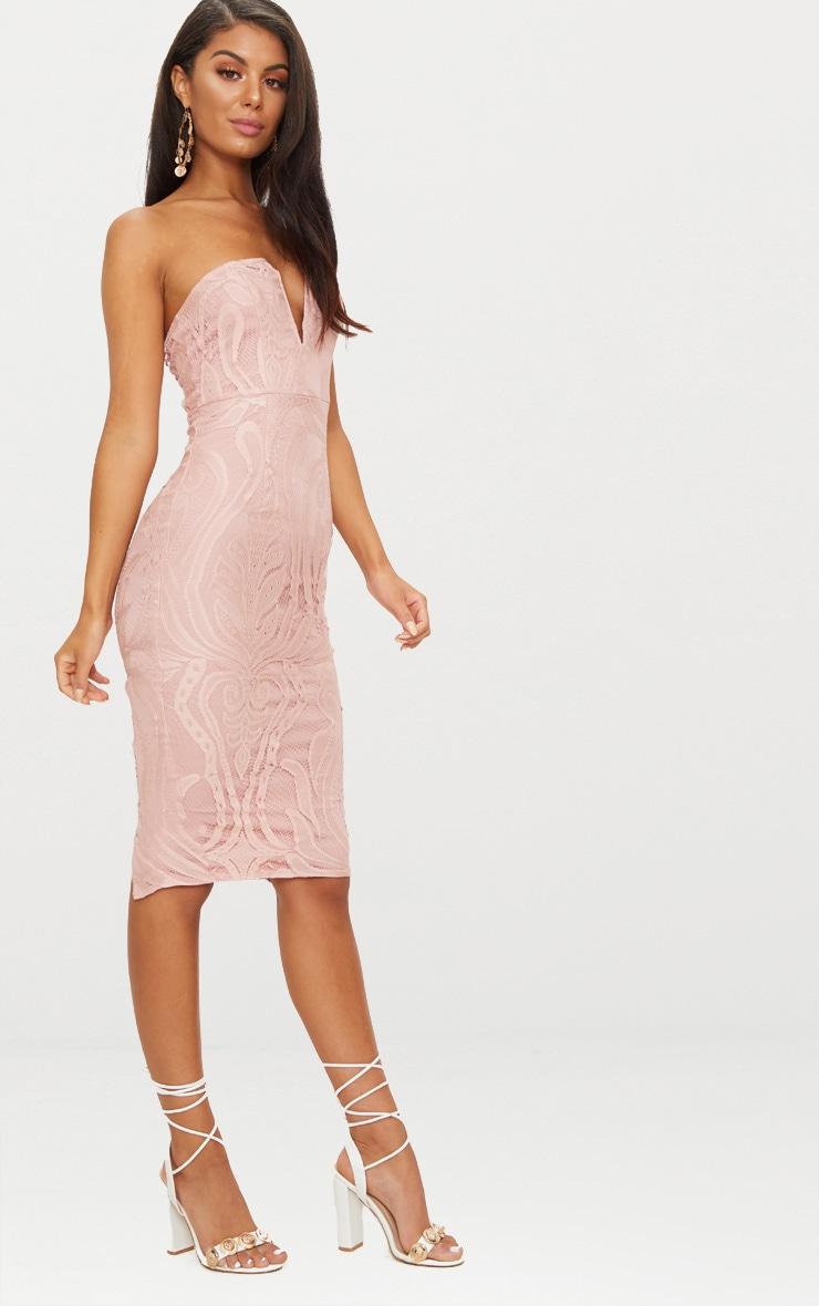 Dusty Pink Lace V Bar Bandeau Midi Dress 4