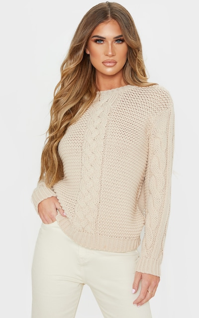 Stone Cable Front Chunky Knitted Jumper