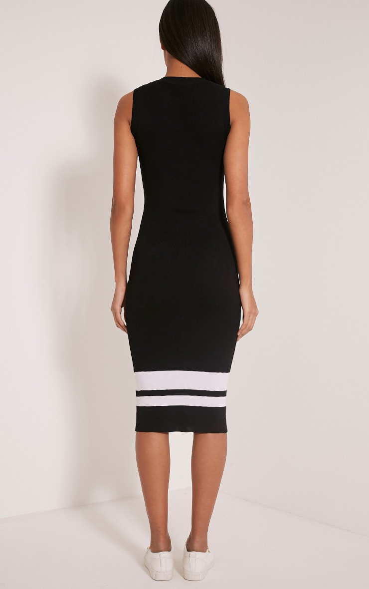 Kammie Black Stripe Ribbed Sleeveless Midi Dress 2