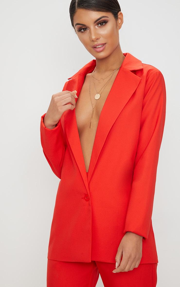 Red Oversized Woven Boyfriend Fit Blazer 1