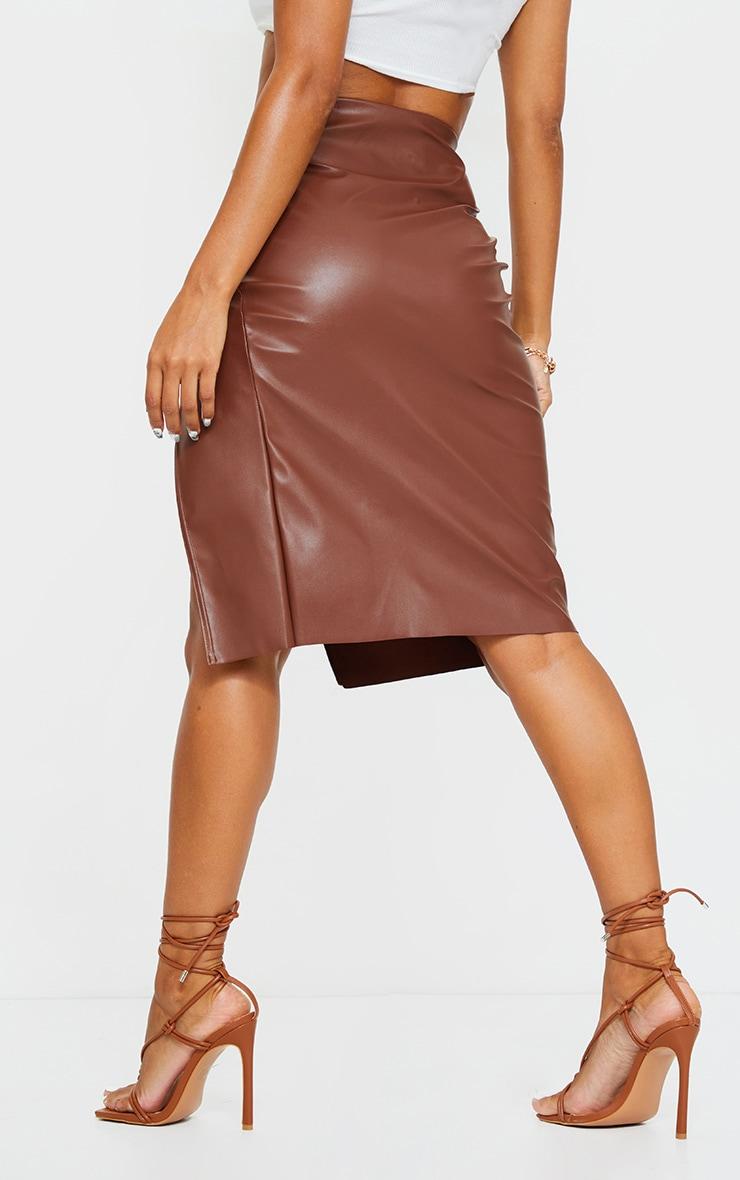 Chocolate Faux Leather Split Detail Midi Skirt 3
