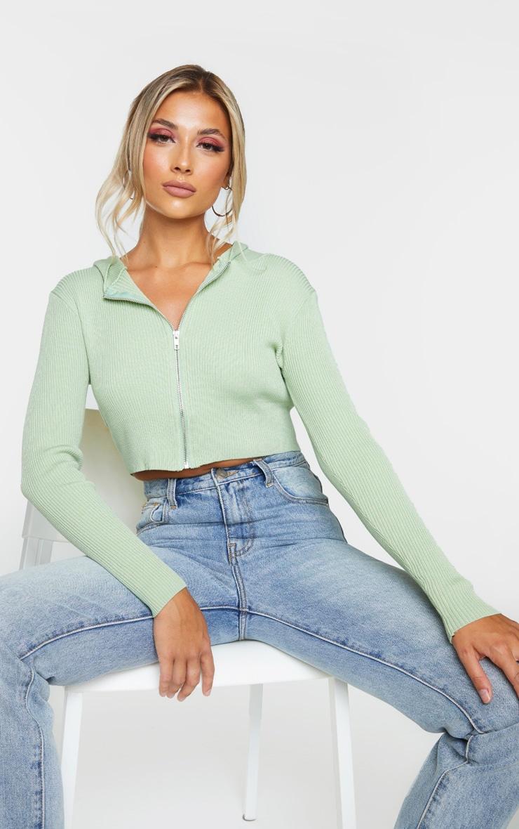 Sage Green Fine Gauge Knitted Zip Up Cardigan 1