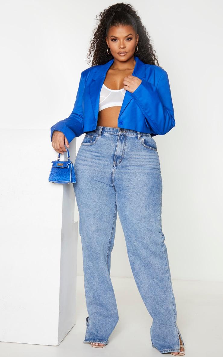 Plus Cobalt Cropped Woven Blazer 3